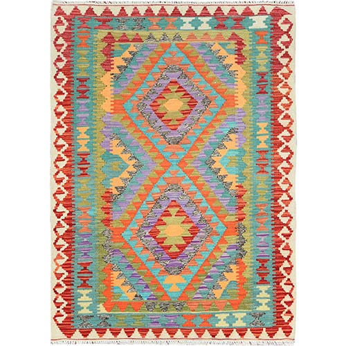 Colorful Geometric Design Afghan Kilim Pure Vibrant Wool Hand Woven Oriental Reversible