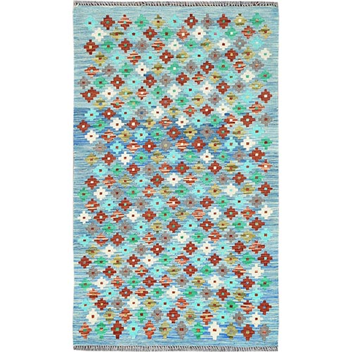 Teal Afghan Kilim Tribal With Diamond Design Reversible Shiny Wool Hand Woven Oriental Rug