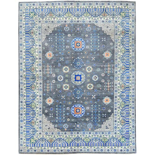 Gray Special Kazak With Khotan Design Hand Knotted Natural Wool Oriental