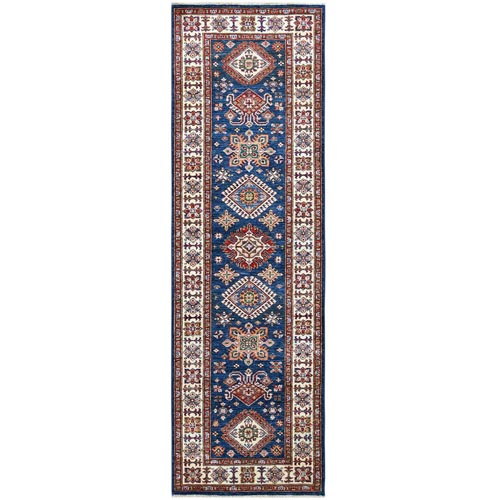 Navy Blue Super Kazak With Tribal Design, Soft To The Touch Wool Pile Hand Knotted Oriental Runner