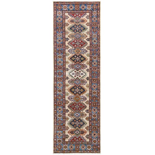 Ivory Super Kazak In A Colorful Palette With Tribal Design Organic Wool Hand Knotted Oriental Runner