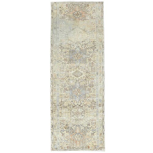 Vintage Persian Karajeh With Faded Earth Tone Colors Distressed Look Clean Pure Wool Hand Knotted Oriental Runner