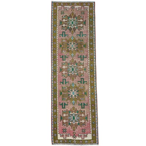 Vintage Pink Persian Karajeh Cropped Thin Pile Clean Hand Knotted Organic Wool Oriental Runner