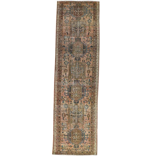 Vintage Persian Karajeh With Sunset Colors Worn Down Clean Hand Knotted Natural Wool Oriental Runner