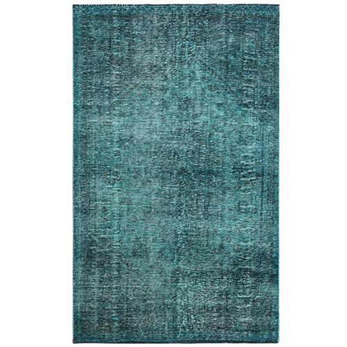 Vintage Overdyed Teal And Dark Green Persian Shiraz Clean Hand Knotted Pure Wool Oriental