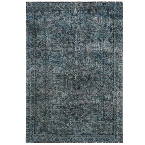 Vintage Overdyed Blue With A Mix Of Green Persian Qashqai Cropped Thin Pile Clean Hand Knotted Pure Wool Oriental