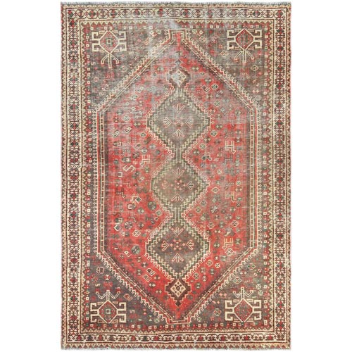 Vintage Red Persian Shiraz With Serrated Medallion Distressed Look Clean Hand Knotted Pure Wool Oriental