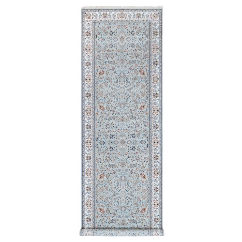 Gray Nain 300 KPSI Wool And Silk Hand Knotted Oriental Wide Gallery Size Runner