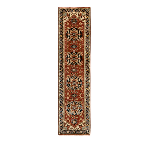 Hand Knotted Red Antiqued Heriz Re-Creation Organic Wool Oriental Runner