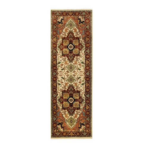 Ivory Denser Weave Antiqued Heriz Re-Creation Natural Wool Hand Knotted Oriental Runner
