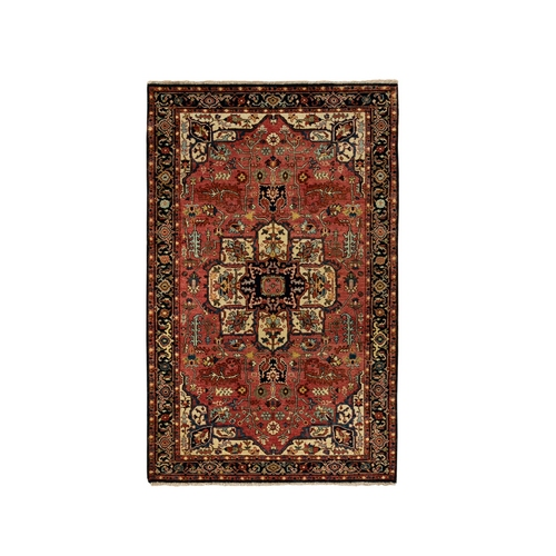 Red Antiqued Heriz Re-Creation Velvety Wool Hand Knotted Oriental