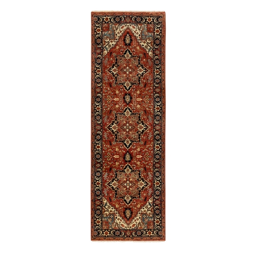 Hand Knotted Red Denser Weave Antiqued Heriz Re-Creation Organic Wool Oriental Runner