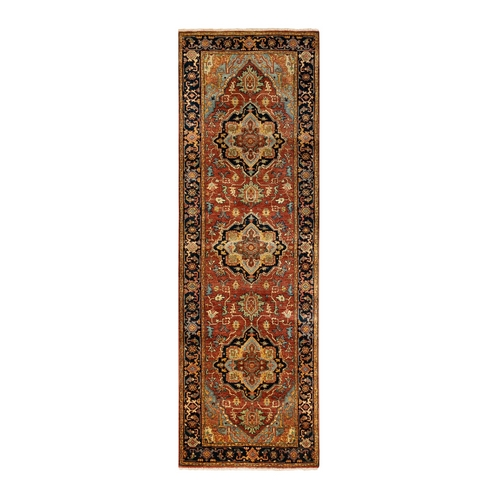 Red Antiqued Heriz Re-Creation Geometric Design Organic Wool Hand Knotted Oriental Runner
