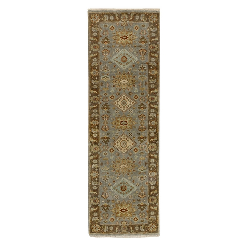 Hand Knotted Gray Karajeh Design Pure Wool Oriental Runner Rug