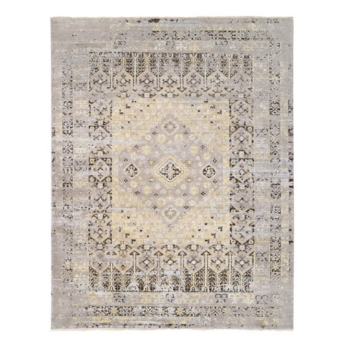 Beige Textured Wool Geometric Persian Design With Earth Tone Colors Hand Knotted Oriental