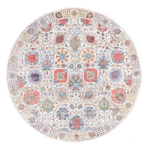 Colorful Silk With Textured Wool Tabriz Vase And Flower Design Hand Knotted Oriental Round Rug