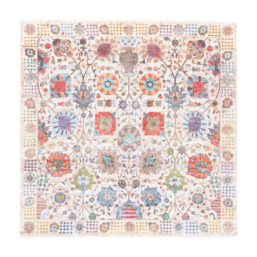 Colorful Silk With Textured Wool Tabriz Vase With Flower Design Hand Knotted Oriental Square Rug