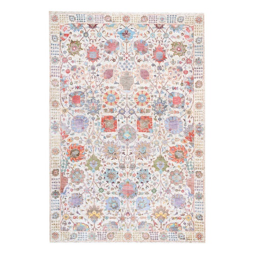 Colorful Silk With Textured Wool Tabriz Vase With Flower Design Hand Knotted Oriental Rug