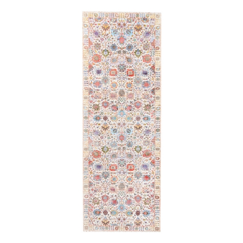 Colorful Silk With Textured Wool Tabriz Vase With Flower Design Hand Knotted Oriental Wide Runner Rug