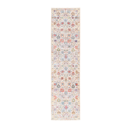 Colorful Silk with Textured Wool Tabriz Vase and Flower Design Hand Knotted Runner Oriental