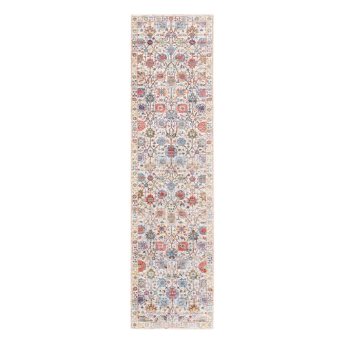 Hand Knotted Colorful Silk With Textured Wool Tabriz Vase With Flower Design Oriental Runner Rug