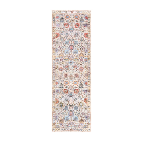 Colorful Tabriz Vase With Flower Design Silk With Textured Wool Hand Knotted Oriental Runner Rug
