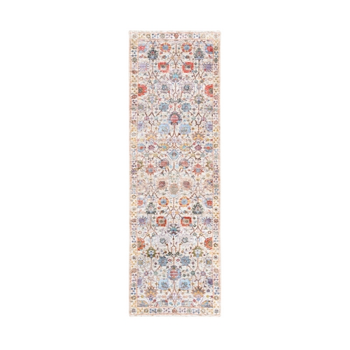 Colorful Silk With Textured Wool Tabriz Vase With Flower Design Hand Knotted Oriental Runner Rug