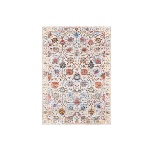 Colorful Silk With Textured Wool Tabriz Vase And Flower Design Hand Knotted Oriental Rug