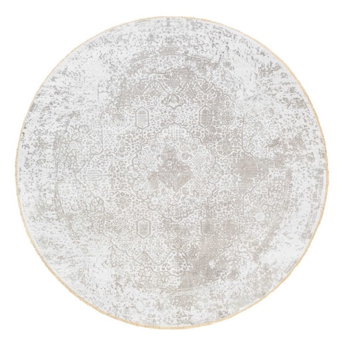 Round Grey Broken Persian Design Wool And Pure Silk Hand Knotted Oriental