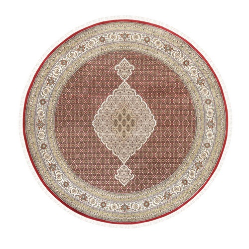 Hand Knotted Red Tabriz Mahi Fish Medallion Design Wool And Silk Oriental Round