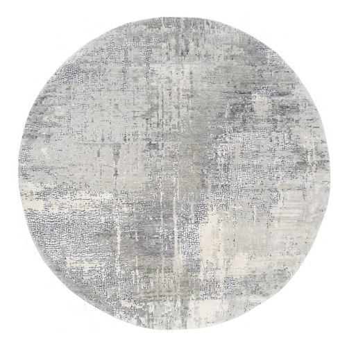 Round Abstract with Mosaic Design Taupe Wool and Silk Hand Knotted Oriental