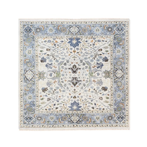 Light Gray Denser Weave Oushak Floral Motifs Hand Knotted Pure Wool Oriental Square