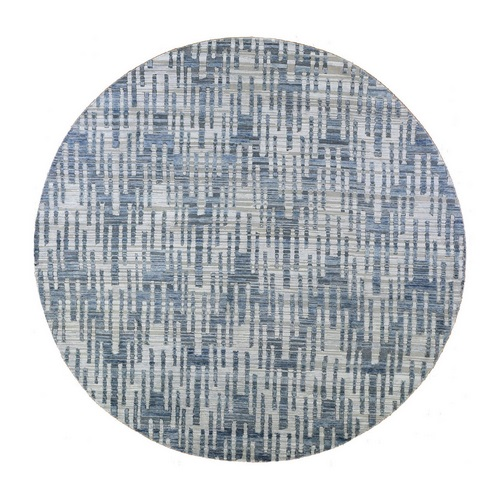 Hand Knotted Blue Pure Silk and Textured Wool Round Zigzag with Graph Design Oriental