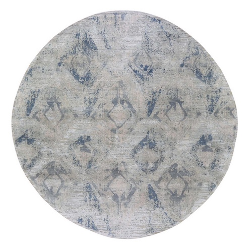 Hand Knotted Modern Ivory Large Elements with Pastels Round Silk with Textured Wool Oriental