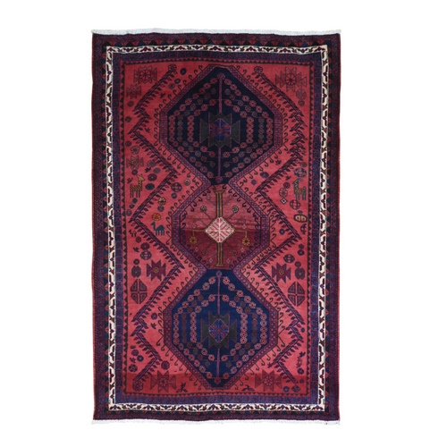 New Persian Hamadan with Saturate Red Abrash Geometric Medallions Design with Animal Figurines Hand Knotted Pure Wool Oriental