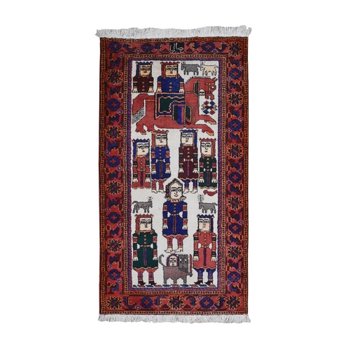 Pictorial Persian Hamadan with King Soldiers Natural Wool Hand Knotted Oriental