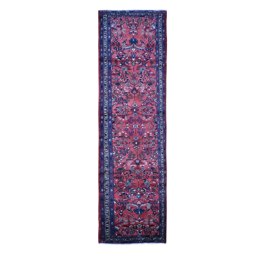 Pure Wool Vintage Persian Lilihan Runner Flowers All Over Design Red Hand Knotted Oriental