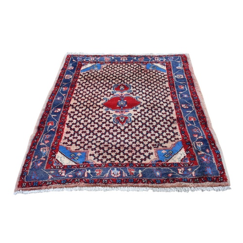 Vintage Persian Hamadan with Camel Hair Organic Wool Hand Knotted Oriental