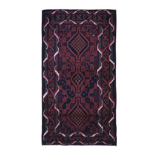 New Large Persian Baluch Natural Wool Geometric Medallion Design Hand Knotted Oriental