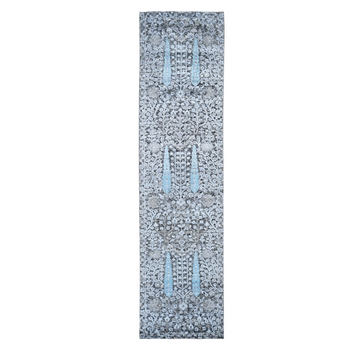 Charcoal Black Cypress Tree Design Silk with Textured Wool Hand Knotted Runner Oriental Rug
