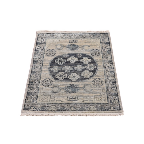 Gray Pure Silk with Textured Wool Khotan Design Hand Knotted Oriental