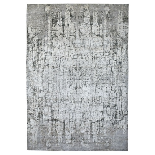 Oversize THE TREE BARK Abstract Design Hand Knotted Soft, Velvety Plush Natural Wool Oriental