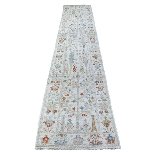 Hand Knotted Ivory Angora Oushak With Cypress Tree Design Velvety wool Oriental XL Runner