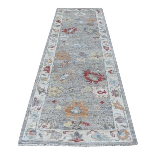 Gray Angora Oushak With Large Motifs Hand Knotted Soft Velvety Wool Oriental Runner