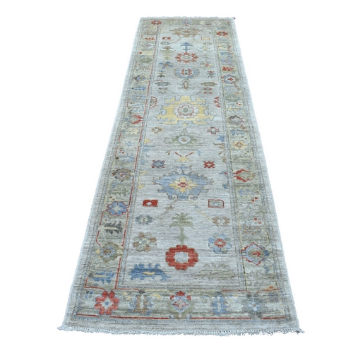 Beige With Colorful Motifs Hand Knotted Angora Oushak Soft Wool Oriental Runner