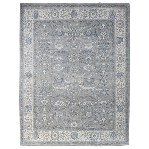 Hand Knotted light Gray With Soft Colors Glimmery Wool Ziegler Mahal Oriental Oversize