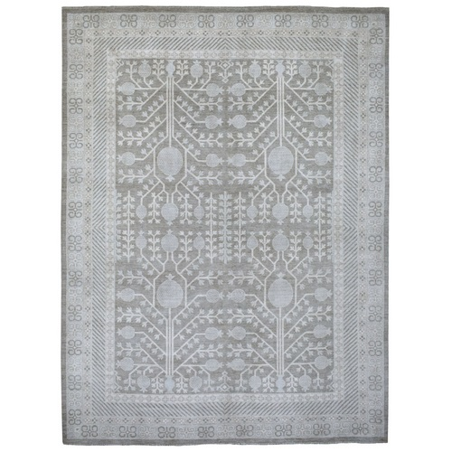 Gray Hand Knotted Soft And Supple Wool White Wash Peshawar With Pomegranate Samarkand Design Oriental