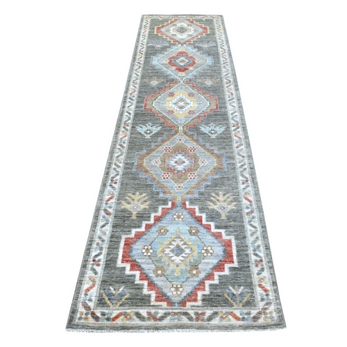 Hand Knotted Geometric Anatolian Village Inspired Angora Oushak Shiny Wool Dark Gray Oriental Runner