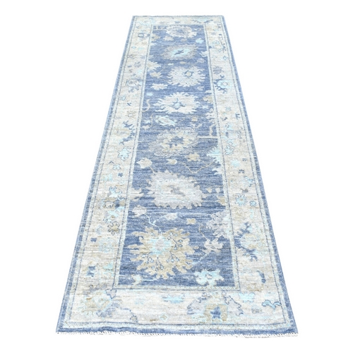 Hand Knotted Denim Blue Angora Oushak With Faded Out Colors 100% Wool Oriental Runner