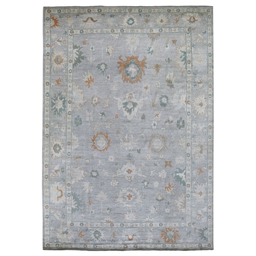 Hand Knotted Pure Velvety Wool Light Gray With Floral Motifs Angora Oushak Oriental